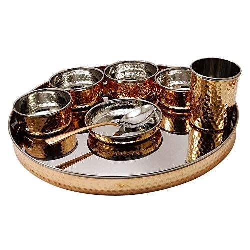 Traditional Indian Hammered Dinner Set Bowl Katori Thali Serveware Kitchenware